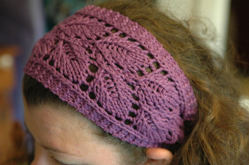 Lacy Knitted Headband in purple