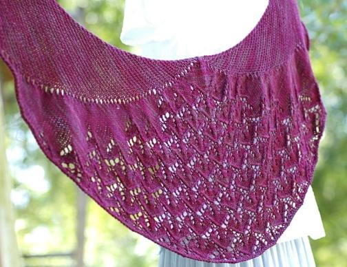 Purple Crescent shaped shawl