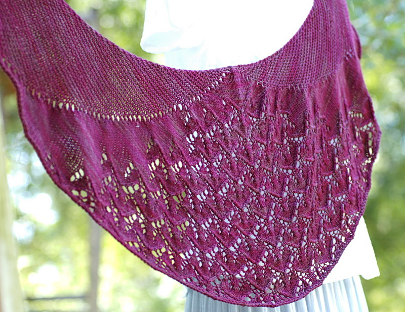 Purple Crescent shaped shawl
