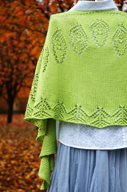 Large hand knit green shawl