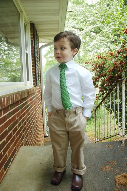 Little boy with knit tie