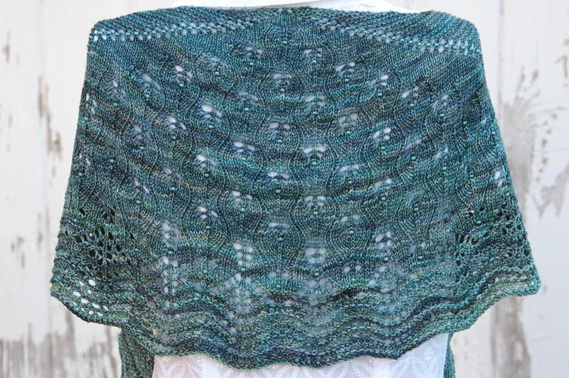 A beaded shawl in Malabrigo Sock