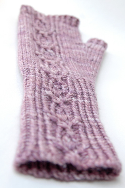 Hand knit fingerless mitt
