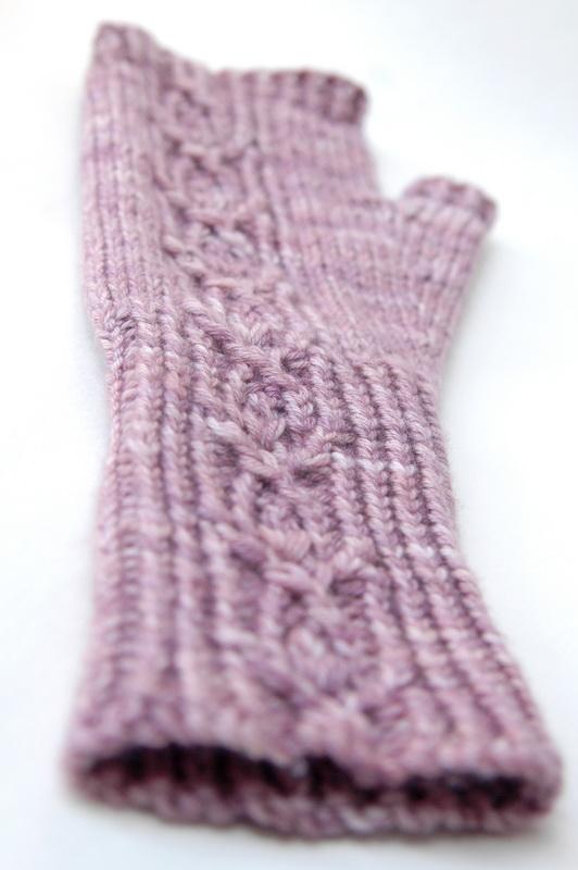 Hand knit fingerless mitt