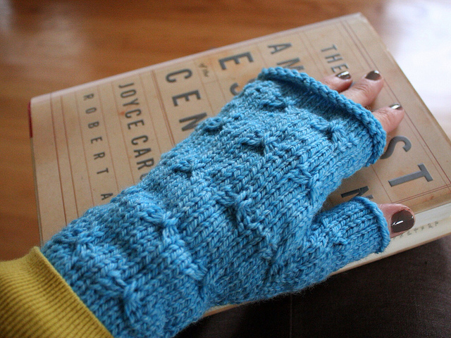 Fingerless Mitts with butterfly stitch