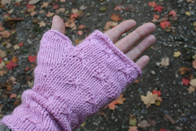 Pink fingerless mitts