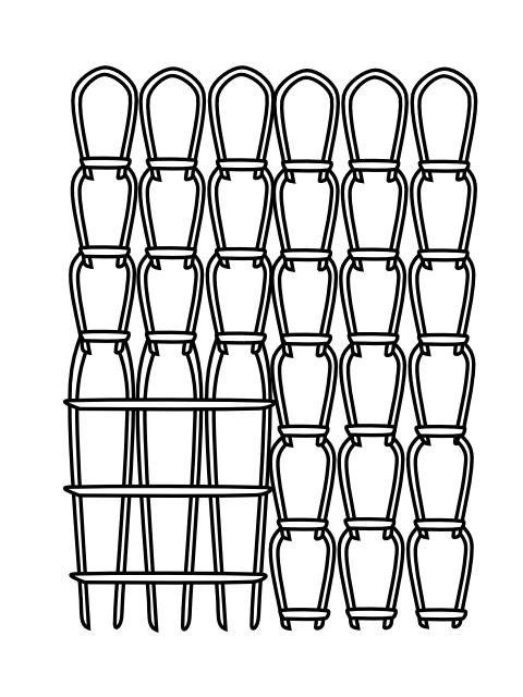 Illustration of yarn held to back
