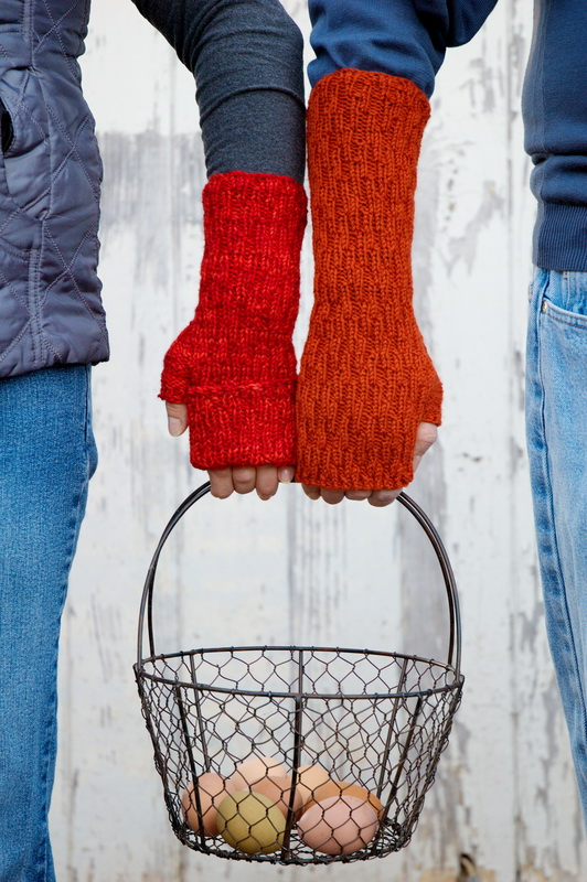 Easily customizable hand knitted fingerless mitts from Barbara Benson Designs