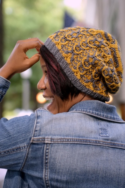 Cables are Cool: a two color, slouchy cable hat with slipped stitch color work by Barbara Benson