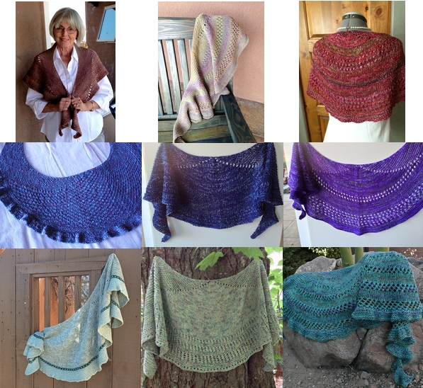 A collage of 10 shawls all knit from the same pattern named Mapes.