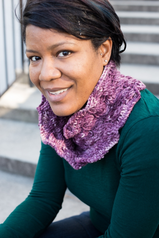 A reversible cabled cowl worked in Moebius by Barbara Benson in Dream in Color aran weight yarn.