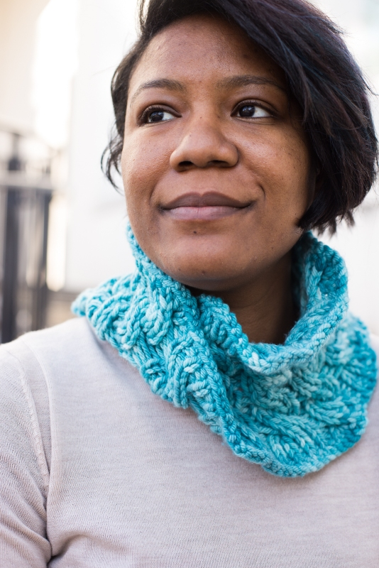 Reversible cable Moebius cowl by Barbara Benson, three yarn weights in Dream in Color.
