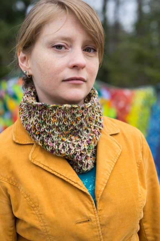 Oh Bother cowl from Barbara Benson, easy to knit in DK to show off speckle yarn.