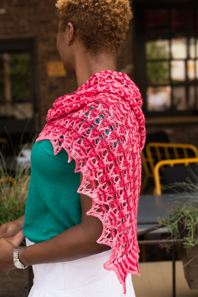 Ves, a two color Mosaic Lace shawl by Barbara Benson