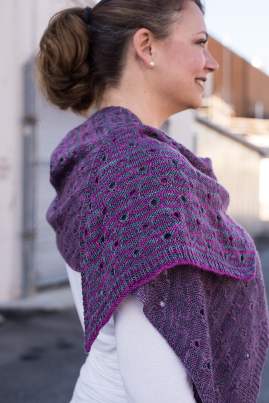 The Peephole Stole - a rectangular striped stole knit on the bias in gradient yarn. By Barbara Beson