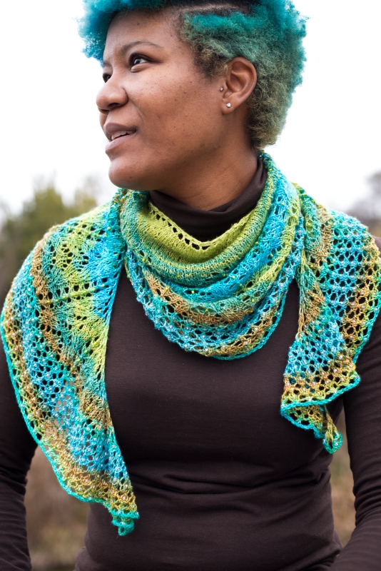Each to Each by Barbara Benson: a beaded, crescent shaped shawl knit in gradient.