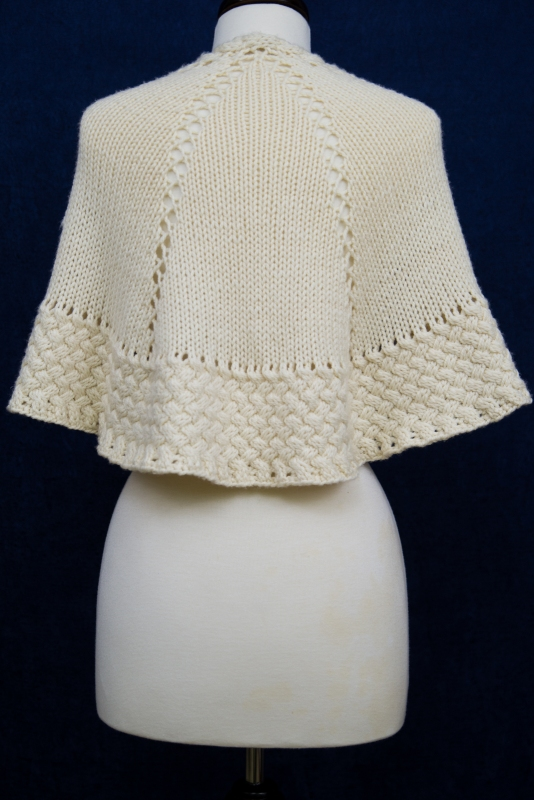 Til There Was You  - An elegant white shawl with bulky yarn and cables from Barbara Benson.